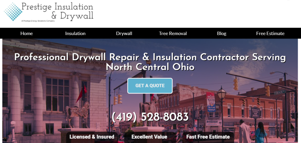 Prestige Insulation & Drywall Website