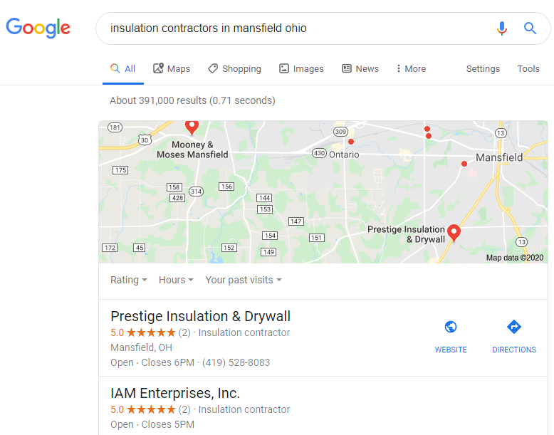 Insulation Contractor top of Google Maps Listing