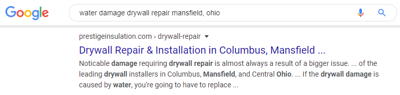 water damage drywall repair SEO listing