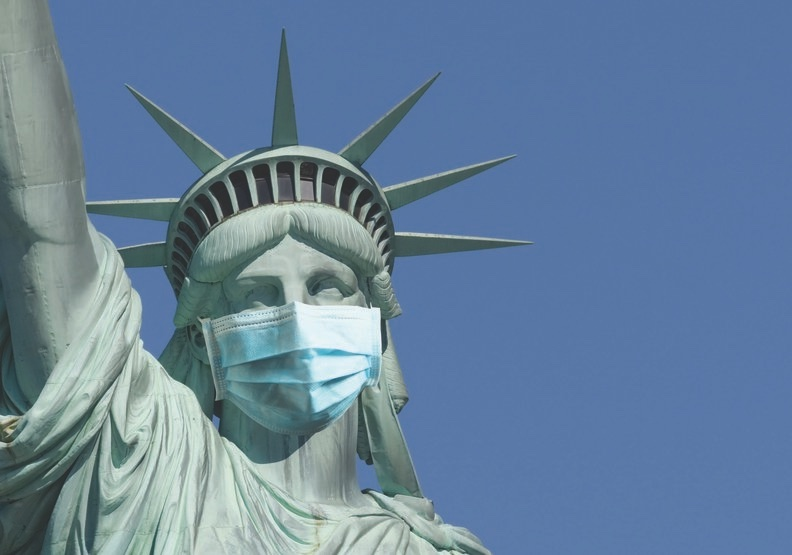 face mask statue of liberty coronavirus recession marketing