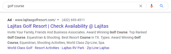 Google Ads results for golf course in texas